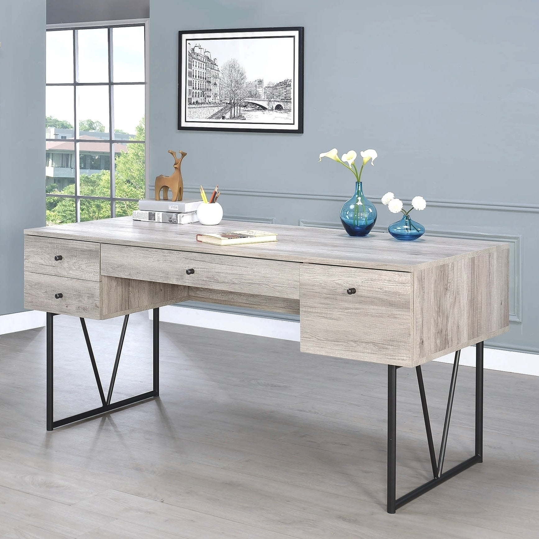 Grey Driftwood Mid Century Home Office Desk With Drawers