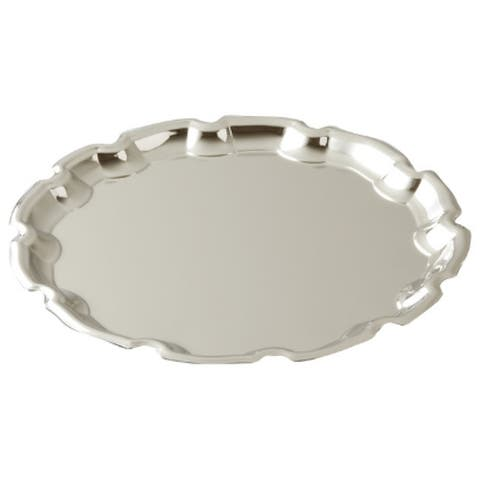"""Elegance Nickel Plated Round Chippendale Tray 12"""""""