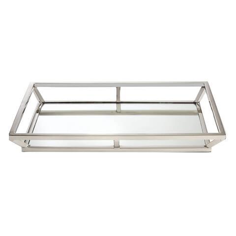 "Elegance Large Beam Rectangular Mirrored Tray 16 x 10..25"""