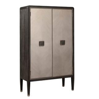 Dark Oak Brown Finish Modern Storage Door Cabinet