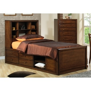 Hopedale Warm Brown Bookcase Bed
