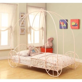 Avery Powder Pink Twin Canopy Bed