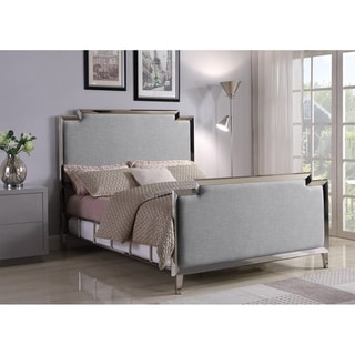 Logan Contemporary Chrome Bed with Light Grey Upholstery