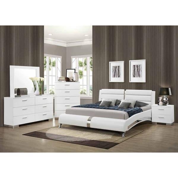 Peachy Caledonia Contemporary Chrome Upholstered Bed Home Interior And Landscaping Ponolsignezvosmurscom