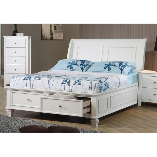 Waverly Coastal White Sleigh Bed