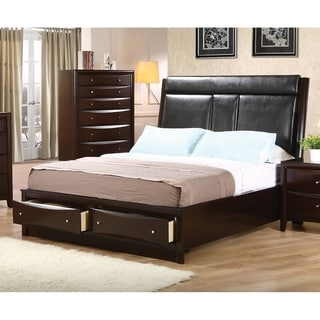 Entrepreneur Cappuccino Faux Leather Bed with Storage