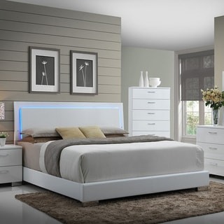 Strick & Bolton Nash Glossy White Panel Bed with LED Lights