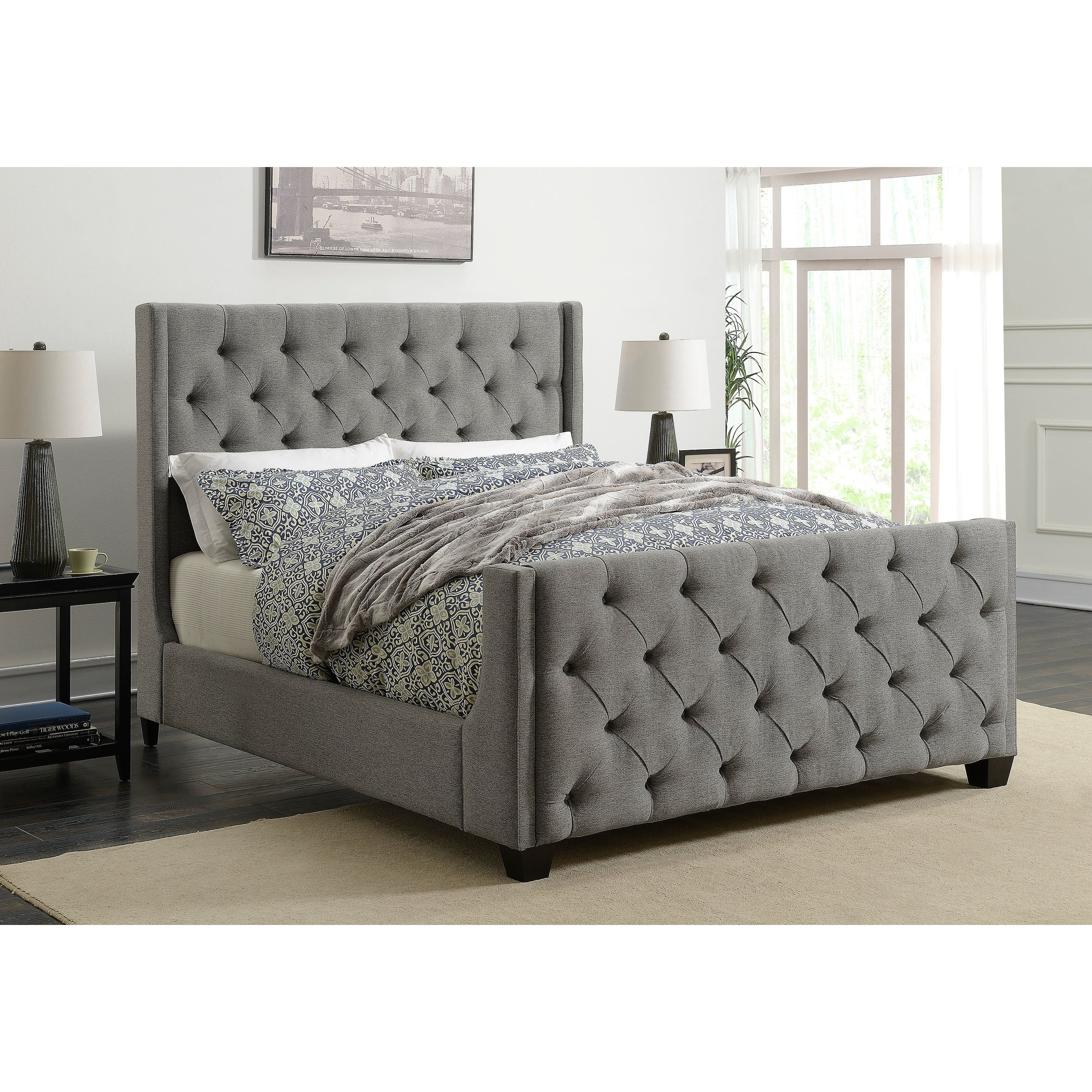 Hadley Grey Upholstered Bed Overstock 27522205