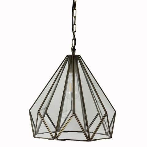 Tabitha Glass and Iron Geometric Pendant Light