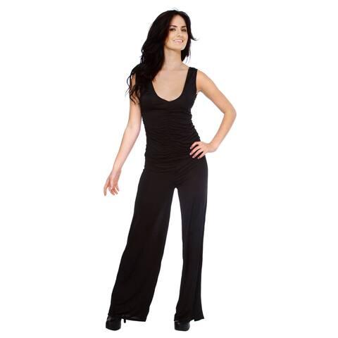 Black Shirred Plunge Front and Back Wide Leg Full Length Jumpsuit