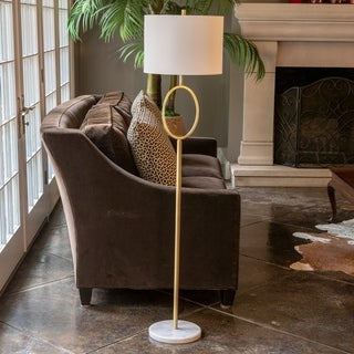 Ava Oval Font Steel Floor Lamp with Marble Base