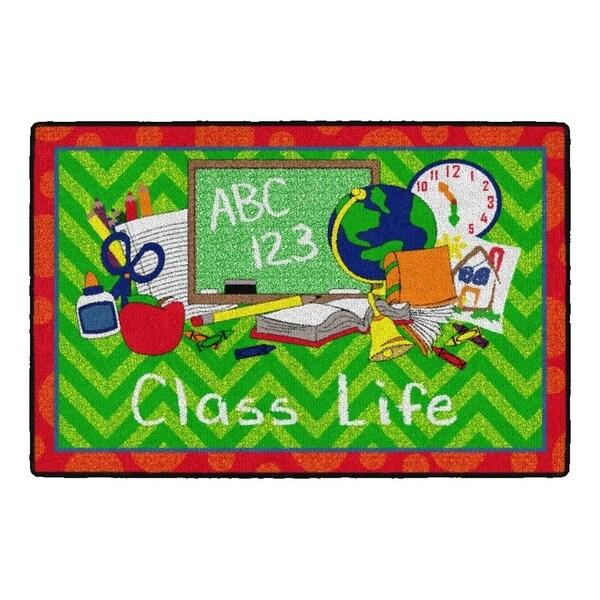 Flagship Carpet Kids Nylon Class Life School Seating Rug, Green and Red - 3' x 2' - 3' x 2'