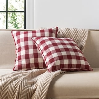 White Buffalo Check Plaid Throw Pillow