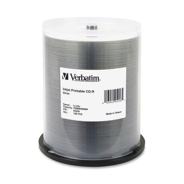 Verbatim CD-R 700MB 52X DataLifePlus Silver Inkjet Printable - 100pk