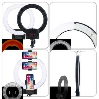"""12"""" Upgrade Ultra-thin Infinity Dimming Double Color Temperature LED Ring Lamp Black"""