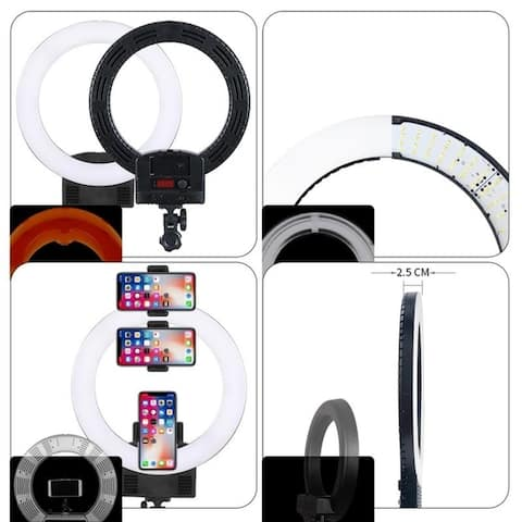 "12"" Upgrade Ultra-thin Infinity Dimming Double Color Temperature LED Ring Lamp Black"