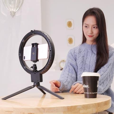 "7""Kshioe Infinite Dimming Double Color Temperature LED Ring Lamp and Mini Tabletop Tripod US Standard - Light Size-7"""