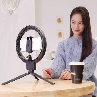 "7""Kshioe Infinite Dimming Double Color Temperature LED Ring Lamp and Mini Tabletop Tripod US Standard"