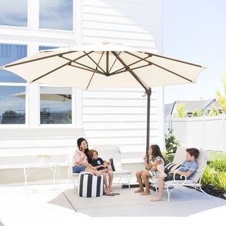 Havenside Home Acapulco 11-foot Offset Cantilever Patio Umbrella with Cross Base