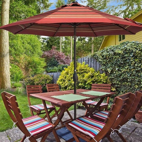 9ft Patio Umbrella Round Market Umbrella with Auto Tilt and Crank