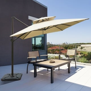 Havenside Home Acapulco 9-foot x 12-foot Rectangular Offset Hanging Cantilever Umbrella with Cross Base