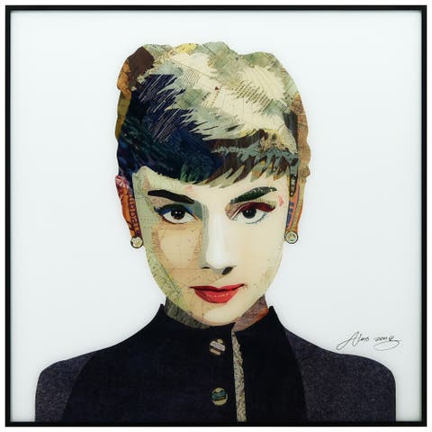 Audrey Hepburn Printed Glass Wall Art Black Anodized Aluminum Frame - White