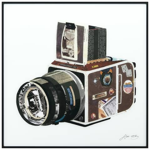 SLR Camera Printed Glass Wall Art with Black Anodized Aluminum Frame - White
