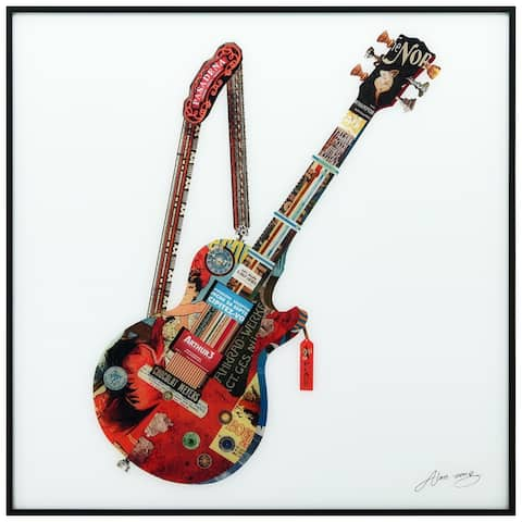 Electric Guitar Printed Glass Wall Art with Black Frame - Red/White
