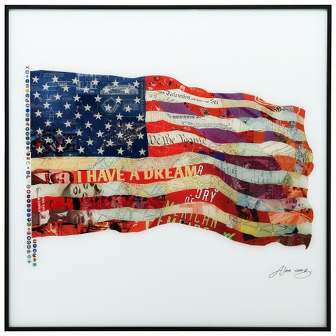 American Flag Printed Glass Wall Art Black Anodized Aluminum Frame - Brown/White