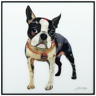 Boston Terrier Printed Glass Wall Art Black Anodized Aluminum Frame - White
