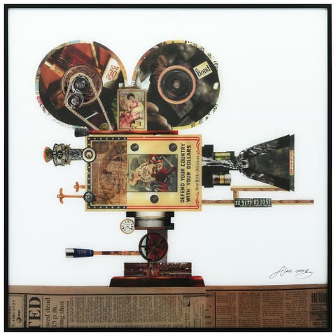 Antique Film Projector Printed Glass Wall Art with Black Frame - White