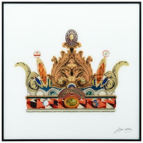 """""""Crown"""" Printed Glass Wall Art with Black Anodized Aluminum Frame"""