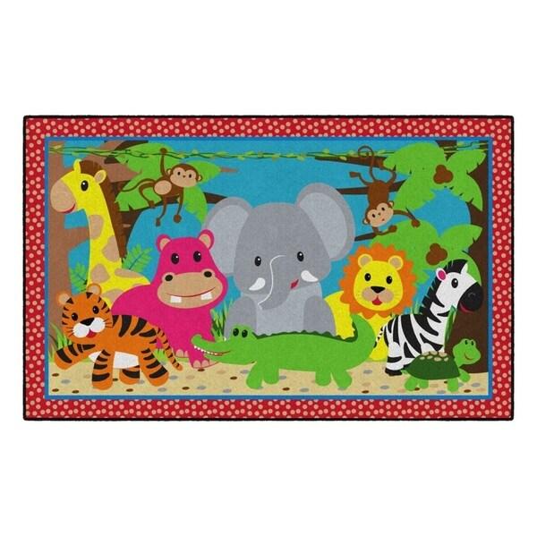 Flagship Carpet Kids Nylon Cutie Jungle Classroom Seating Rug - 5' x 8' - 5' x 8'