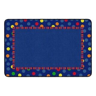 Flagship Carpet Kids Nylon Dots and Stripes Classroom Seating Rug - 4' x 6' - 4' x 6'