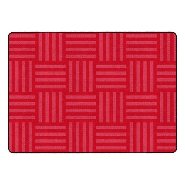 "Flagship Carpet Kids Nylon Cherry Hashtag Tone On Tone Classroom Seating Rug, Seats 24 - 6' x 8'4"" - 6' x 8'4"""