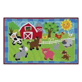 Flagship Carpet Kids Nylon Cutie Barnyard Classroom Seating Rug - 5' x 8' - 5' x 8'