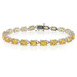 Miadora Sterling Silver Prong-set Citrine Link Bracelet (21 Stones)