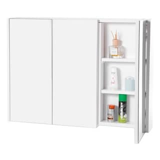 3 Shelves White Wall Mounted Bathroom Mirrored Door Vanity Cabinet Medicine Chest