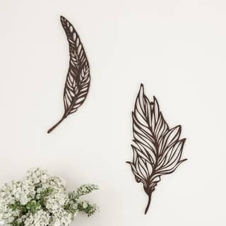 Wall Decor-Set of 2 Metal Feather Hanging Contemporary Wall Art for Living Room, Bedroom, Kitchen by Lavish Home (Brown)