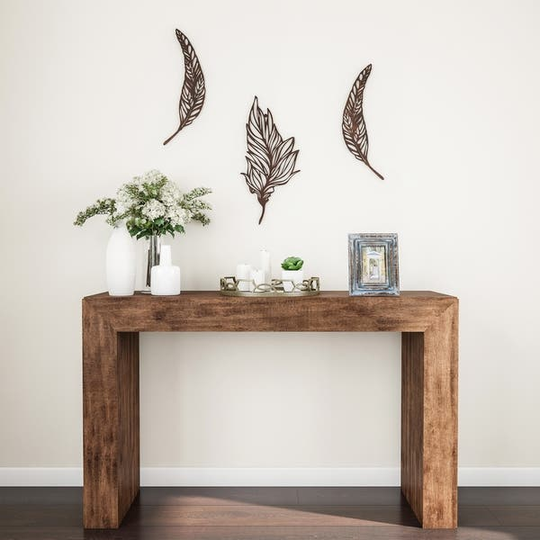 Shop Wall Decor-Set of 2 Metal Feather Hanging Contemporary ...