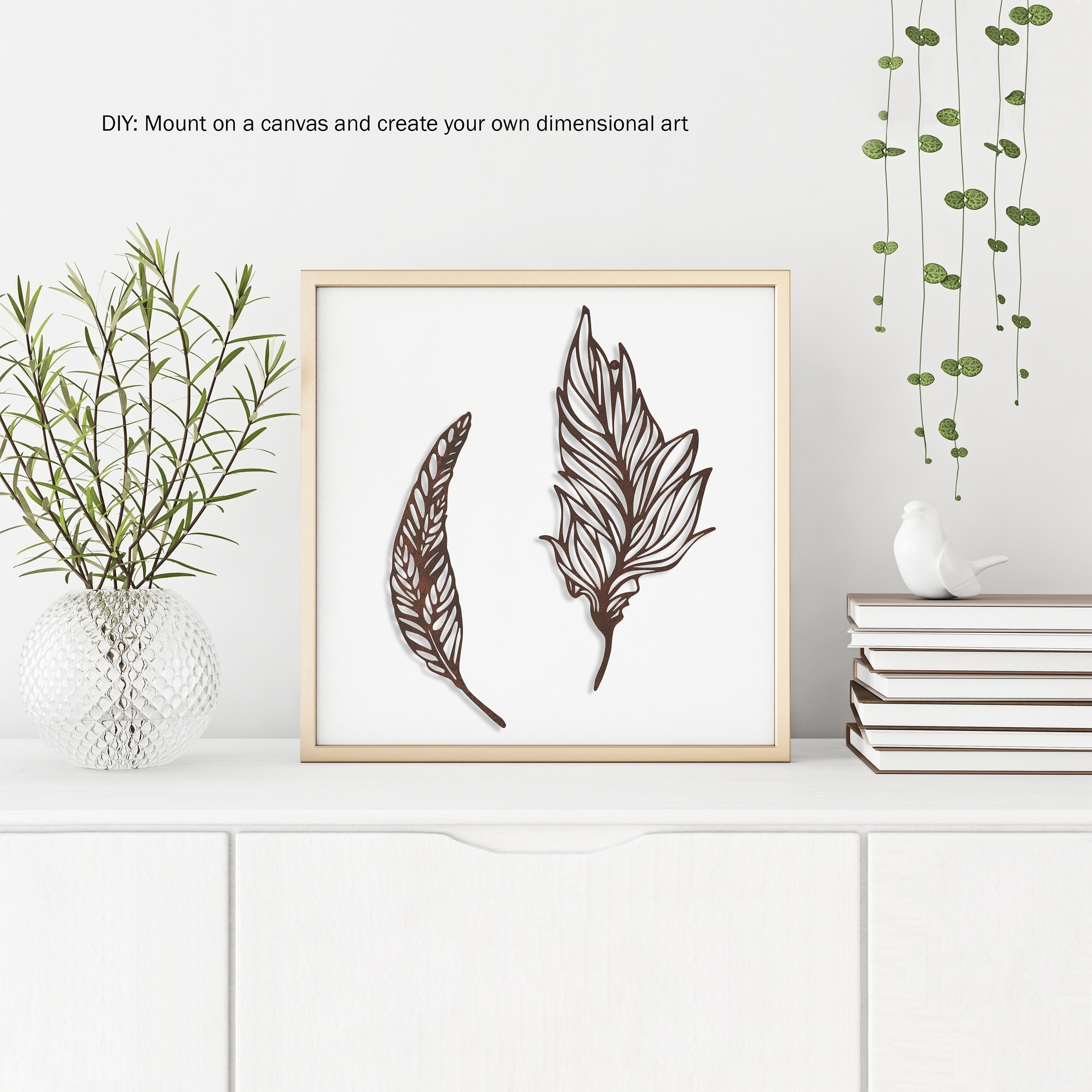 Shop Black Friday Deals On Wall Decor Set Of 2 Metal Feather Hanging Contemporary Wall Art For Living Room Bedroom Kitchen By Lavish Home Brown Overstock 27536852