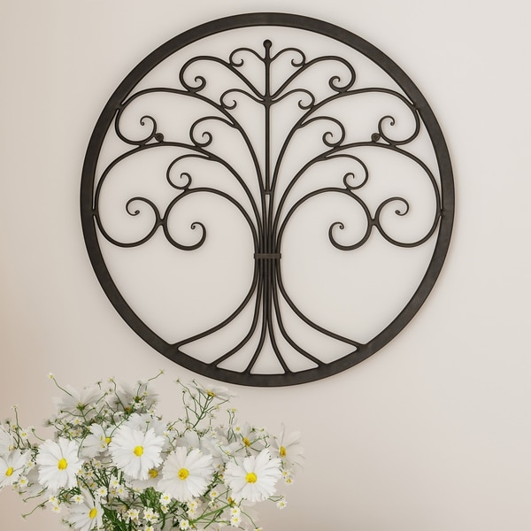Shop Lavish Home Tree Of Life Brown Iron Metal Modern Round Wall Art