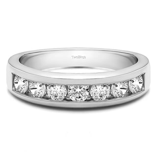 14k Gold Seven Stone Channel Set Wedding Ring With White Sapphire 0 25 Cts Twt
