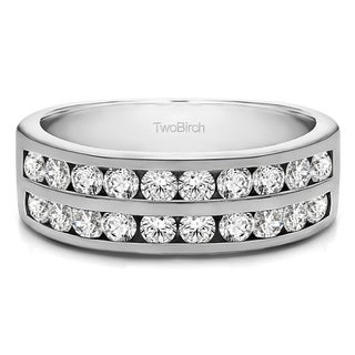 10k Gold Double Row Channel Set Anniversary Band With White Sapphire 1 Cts Twt
