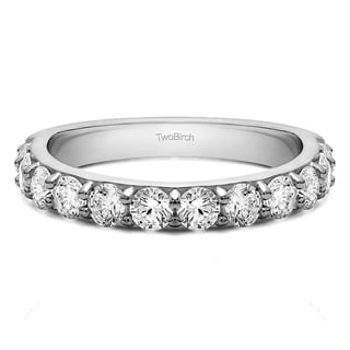 Platinum Twelve Stone Round Pave Set Wedding Band With White Sapphire 0 48 Cts Twt