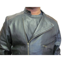 Amerileather Men's Dual Leather Stripe Motorcycle Jacket