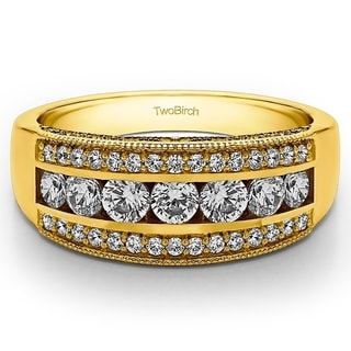 14k Gold Pave Set Filigree Three Row Anniversary Band With White Sapphire 0 98 Cts Twt