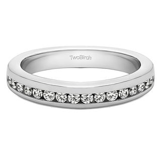 Platinum Thin Channel Set Wedding Band With White Sapphire 0 34 Cts Twt