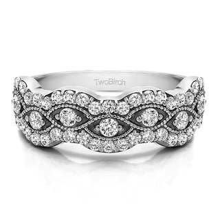 Platinum Pave Set Millgrained Infinity Wedding Ring With White Sapphire 0 88 Cts Twt