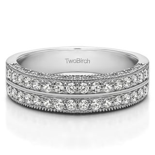 10k Gold Double Row Vintage Filigree Millgrained Wedding Band With White Sapphire 0 48 Cts Twt